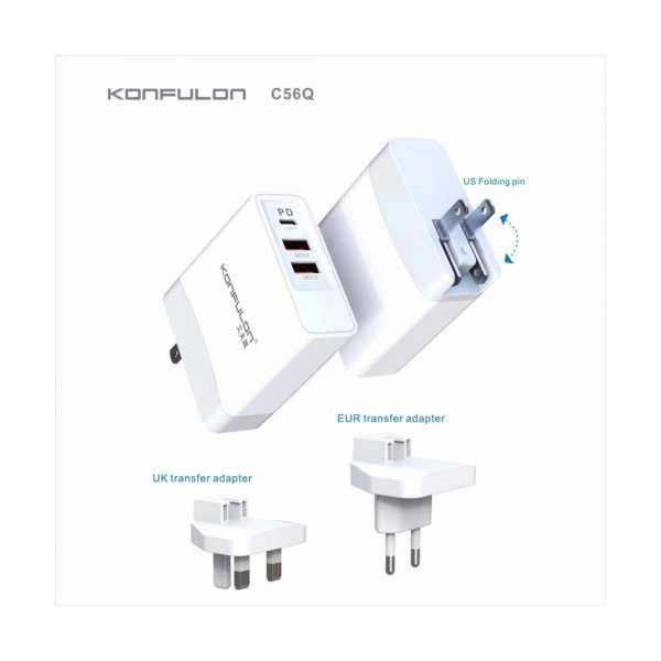 Konfulon Type-C USB 3.0 Quick PD 18W Dijital Seyahat Hızlı Şarj Cihazı (Şarj Başlığı) C65Q