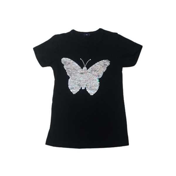 Kız Çocuk Siyah Çift Yönlü Renk Değiştiren Pullu Kelebekli Tişört ÇKT-6622
