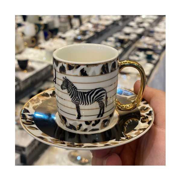 Acar leopar 6 kişilik türk kahvesi fincan takımı