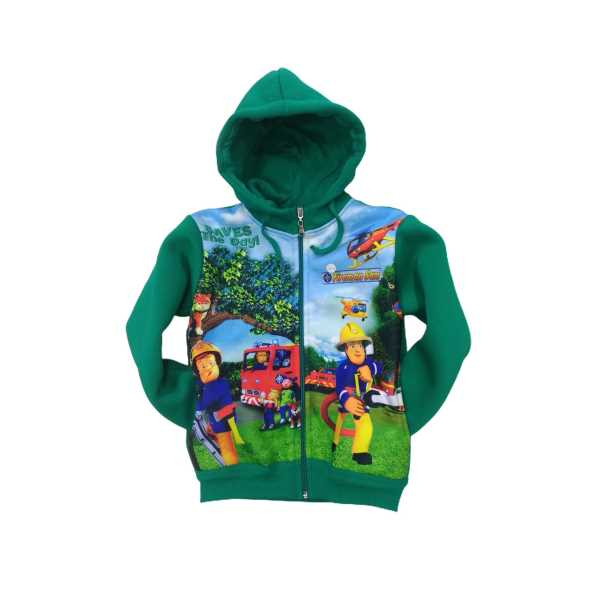 Erkek Çocuk İtfaiyeci Freman Sam Dijital Baskılı Kapüşonlu Fermuarlı Sweat ceket ÇCFK-İTS