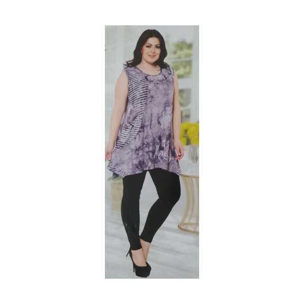 Büyük Beden Gri Batik Taşlı Yazılı Çizgili Kolsuz Asimetrik Cepli Batik Renk Kadın Elbisesi 8694-Ö