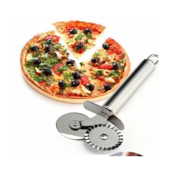 Çİft Başlı Metal Pizza Kesici ve Hamur Ruleti