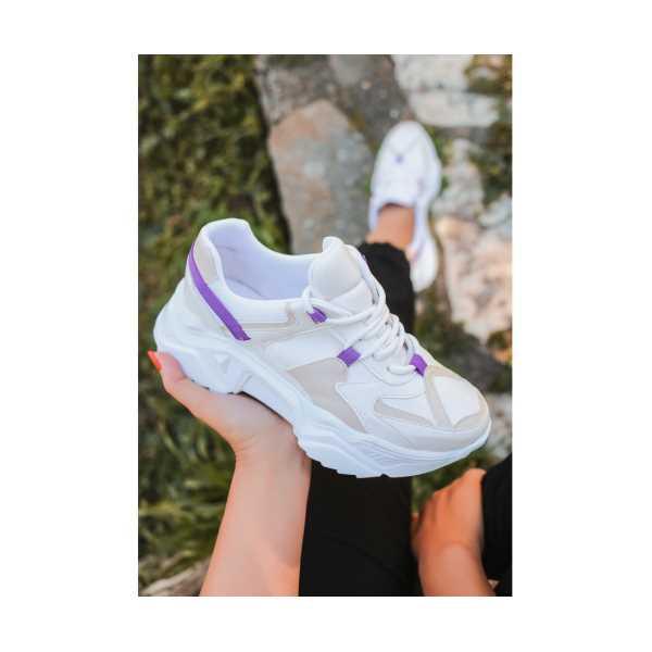 Simer Ten Cilt Mor Detaylı Spor Ayakkabı