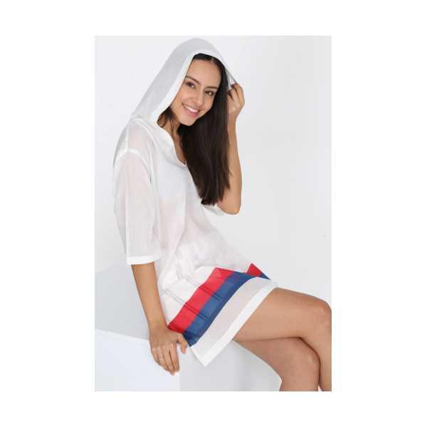 Patiska Kadın Beyaz İki Renkli Kapşonlu Pareo 4107