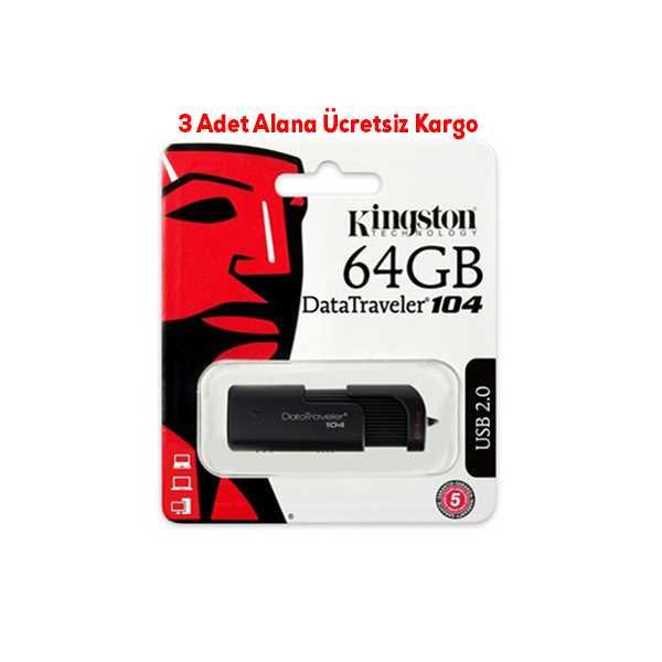 KİNGSTON 64GB USB2.0 (DT104) SİYAH FLASH BELLEK