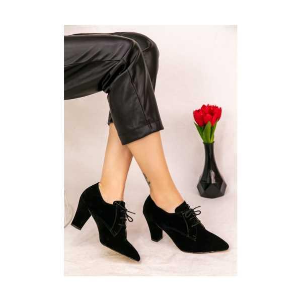 Dirla Siyah Süet Topuklu Ayakkabı