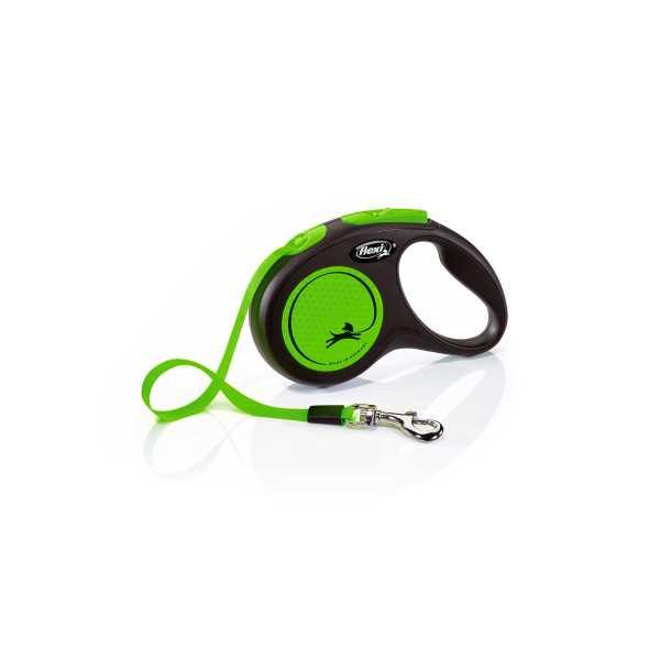 Flexi New Neon Yeşil Parlak Şeritli Otomatik Gezdirme Tasması 5m Small