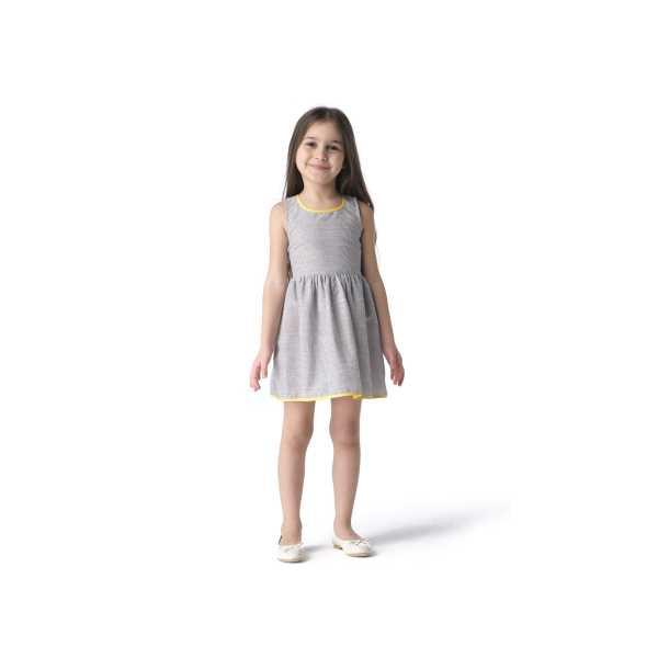 Tülü Akkoç Siyah Çizgili Biyeli Yazlık Elbise TAK21E105A