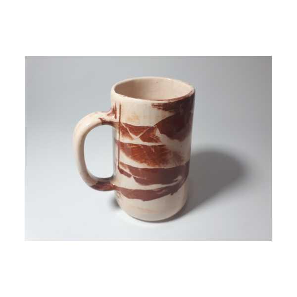El Yapımı Seramik Bira Bardağı Kırmızı/Beyaz Kil