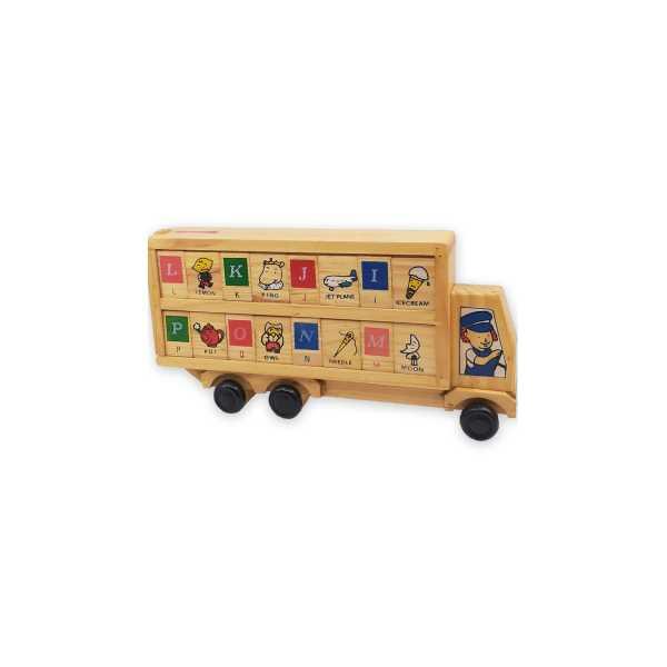 Montessori Eğitici Oyuncak: Ahşap Eğitici Eğitim Bloklu Otobüs