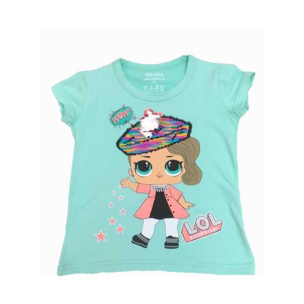 Çocuk Yeşil Çift Yönlü Renk Değiştiren Pullu Lol Baskılı Tişört ÇKT-PŞ