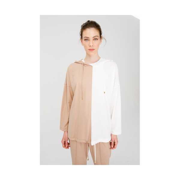 Class Giyim On Kapüşonlu İki Renkli Bluz