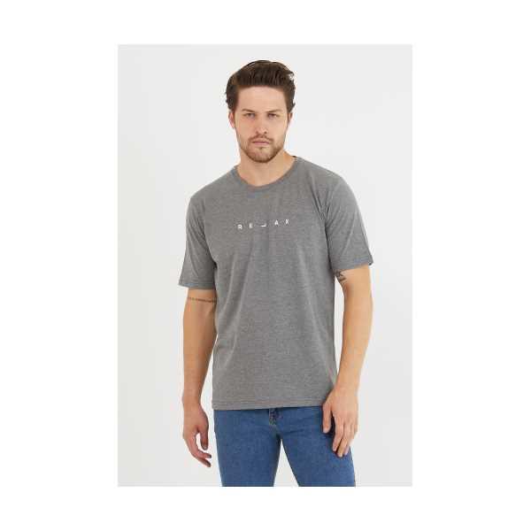 Erkek Antrasit Relax Baskılı Slim Fit T-Shirt