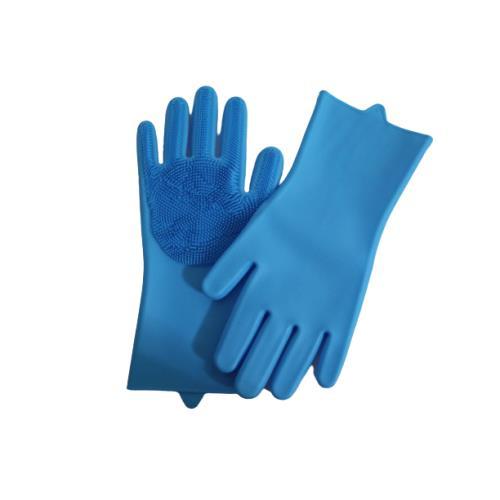 Sıcak suya dayanıklı silikon içi fırçalı Temizlik eldiveni - Mavi