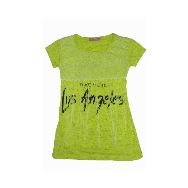 Kız Çocuk Sarı Los Angeles Baskılı Püsküllü Dantelli Kısa Kollu Penye Elbise ÇKE-LOS