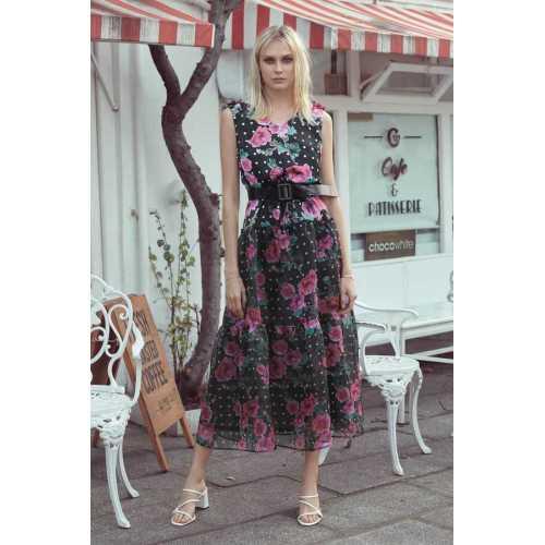 class giyim fever Kumaş Geçişli Kolsuz Elbise