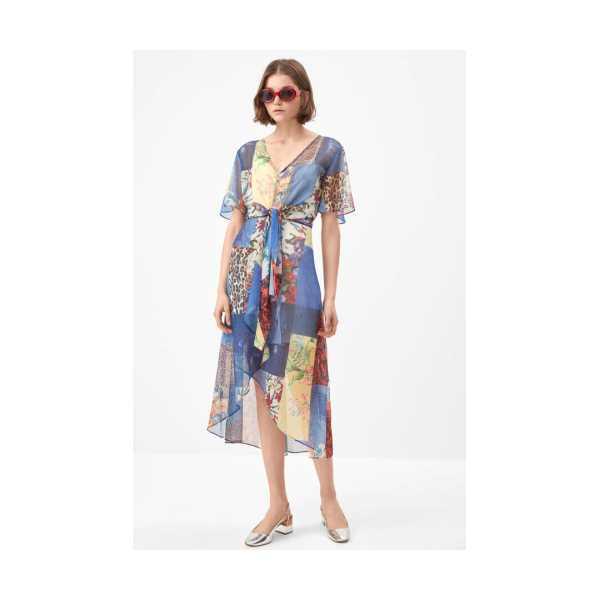 Class Giyim Fever Patchwork desenli elbise