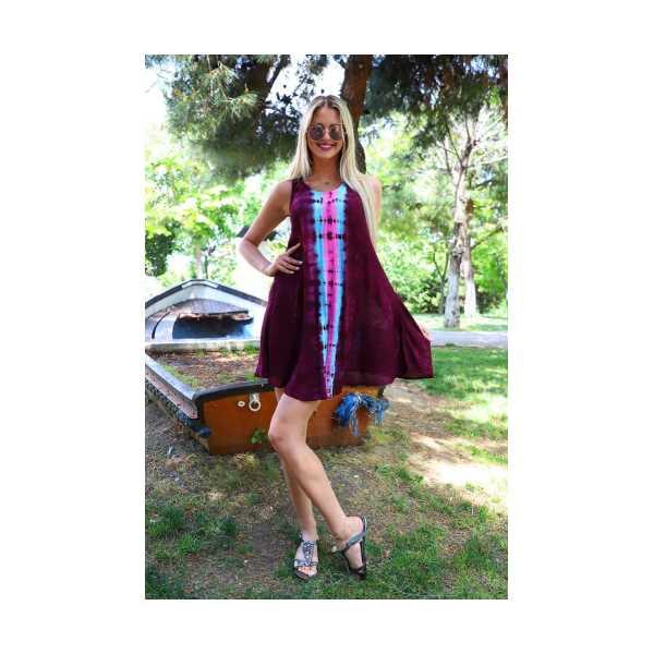 Patiska Kadın Kısa Çan Boyuna Desenli Batik Elbise 41320