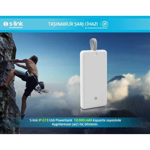 S-Link, Ip-g19 10000mah 1 Usb Port 2 In 1 Kablo Powerbank Beyaz S-LİNK 10000