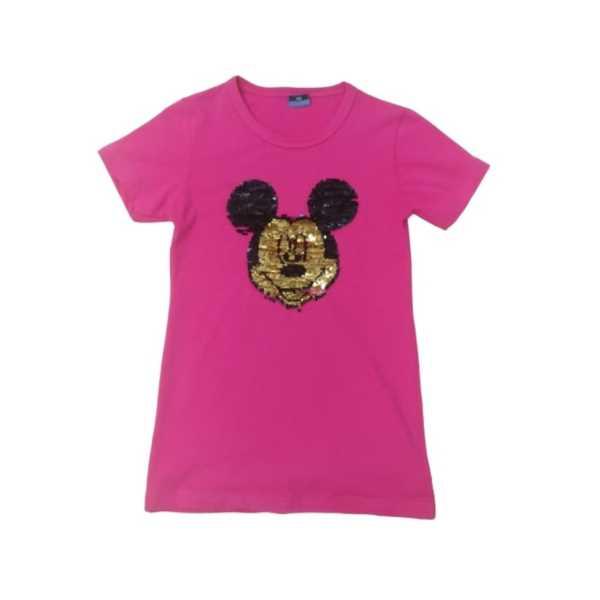 Kız Çocuk Çift Yönlü Renk Değiştiren Pullu Mickey Mouse Baskılı T-Shirt ÇKT-6671-P