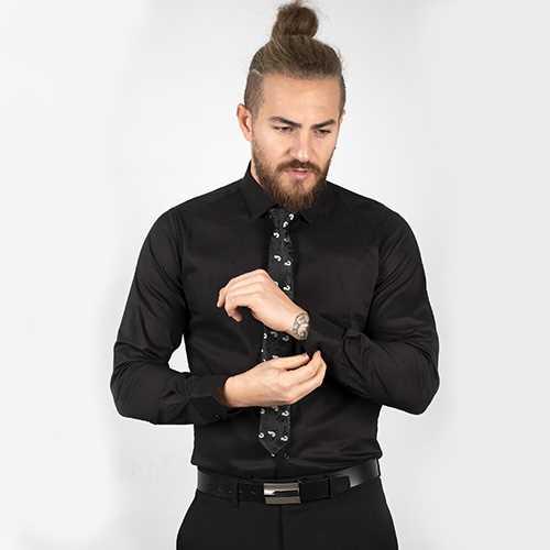 DeepSEA Siyah Yüksek Yaka Likralı Erkek Gömlek 2001040