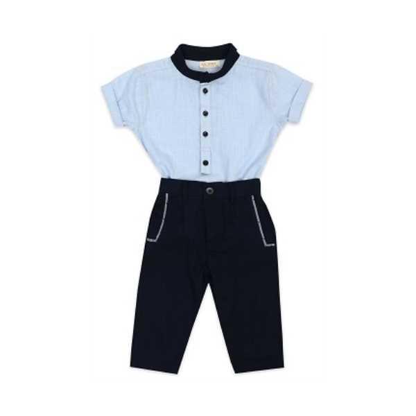 Tülü Akkoç 2'li Takım Mavi Gömlek- Lacivert Pantolon