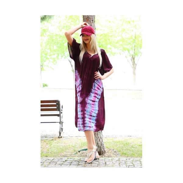 Patiska Kadın Yarım Kollu Danteli V Desenli Batik Elbise 4138