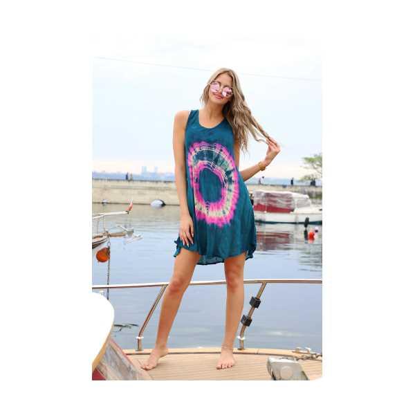 Patiska Kadın Kısa Çan Yuvarlak Desenli Batik Elbise 4133