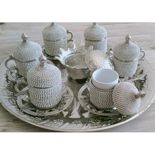 Osmanlı Motifli 6 Kişilik Türk Kahve Seti - Beyaz Taşlı