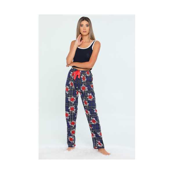 Lacivert Bel Lastikli Çiçek Baskılı Kadın Pijama Altı 455483