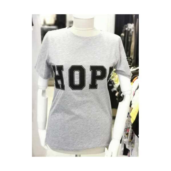 Gri Hope Yazılı %100 Pamuk Tshirt