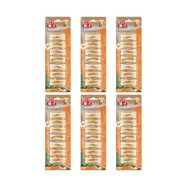 8in1 Delights Bone Köpekler İçin Tavuklu Sert Ağız Bakım Kemiği 7'li Paket x 6 Adet