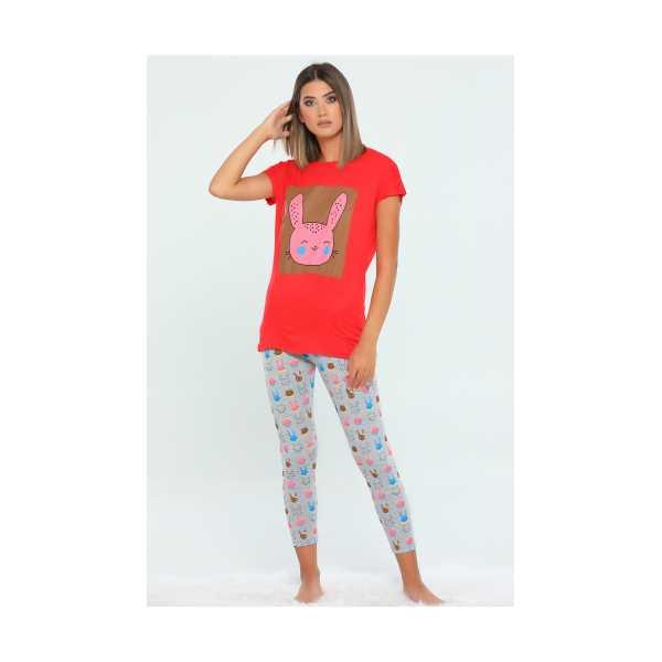 Kırmızı Bisiklet Yaka Baskılı Kadın Pijama Takımı 436294