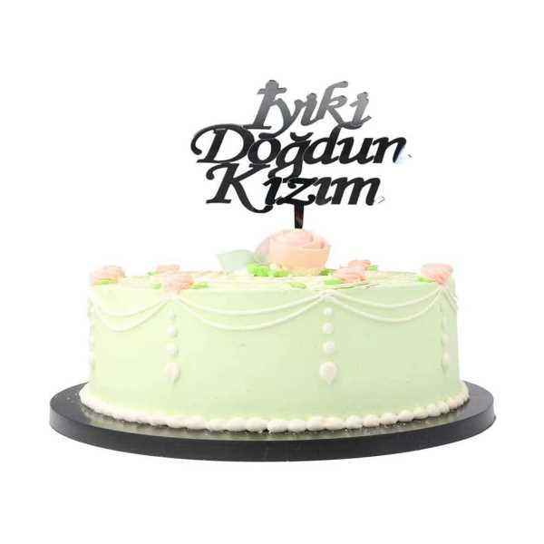 İyiki Doğdun Kızım Parti Pasta Süsü Gümüş Renk