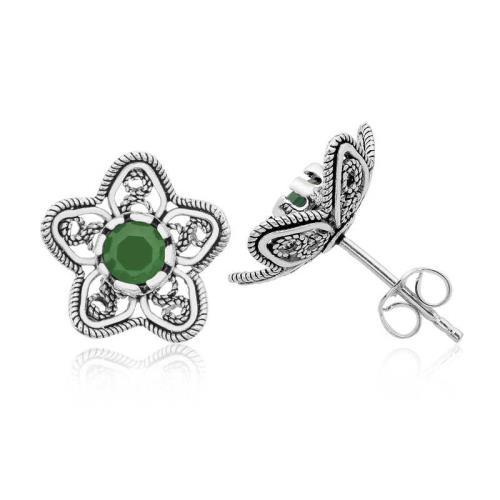 Midyatziv Gümüş Telkari Yeşil Nilüfer Çiçeği Çivili Küpe midyatziv