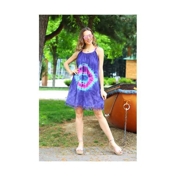 Patiska Kadın Yuvarlak Desenli İp Askılı Batik Elbise 4131