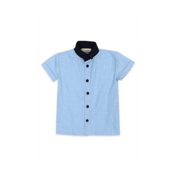 Tülü Akkoç Mini Yakalı Mavi Gömlek