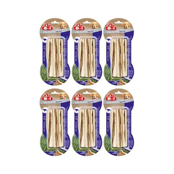 8in1 Delights Sticks Köpekler İçin Biftekli Ağız Bakım Kemiği 3'lü Paket x 6 Adet