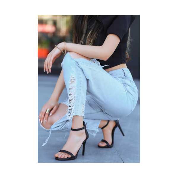 Serel Siyah Cilt Topuklu Ayakkabı