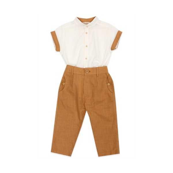 Tülü Akkoç 2'li Takım Beyaz Gömlek- Camel Pantolon
