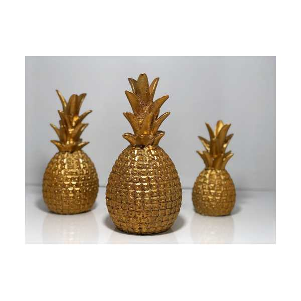 Ananas Biblo 3 lü Set - Altın Rengi