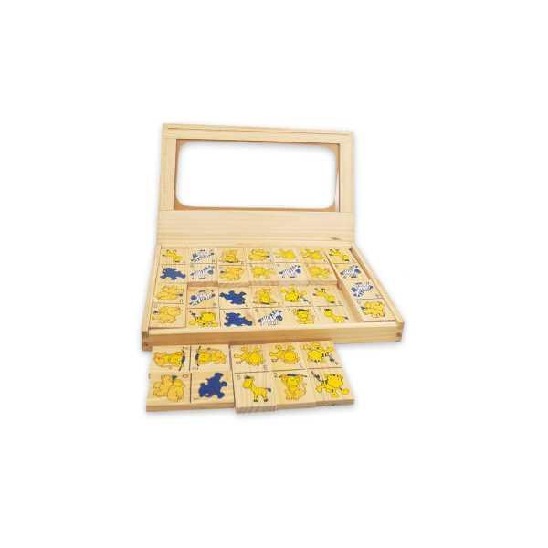 Montessori Eğitici Oyuncak: Ahşap Orman Hayvanları Domino Seti