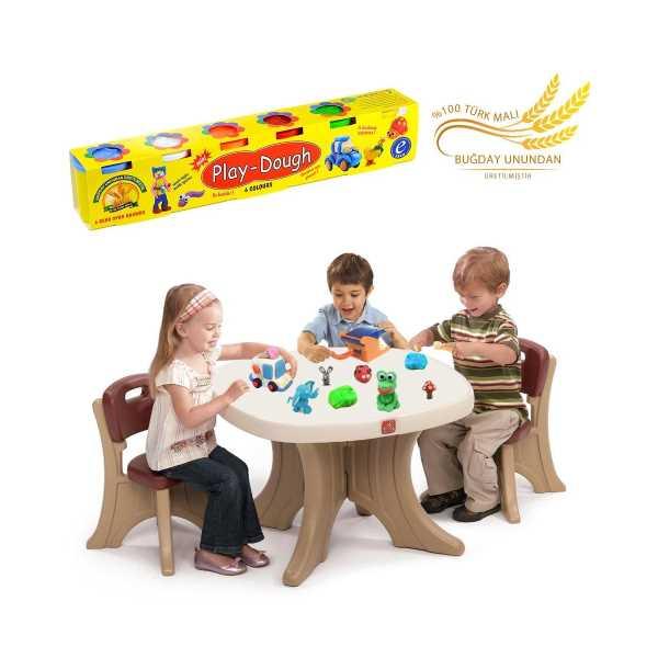 6 Renkli Buğday Unu Oyun Hamuru (Büyük Boy) - Play Dough