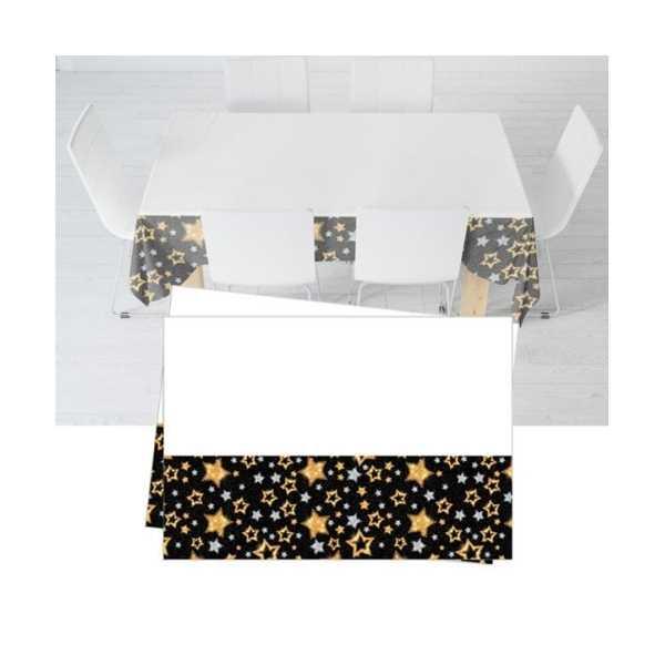 Yıldızlar Siyah Masa Örtüsü 120x180 cm