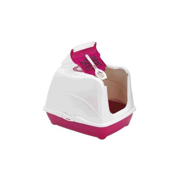 Moderna Flip Cat Kolay Açılır Filtreli Dekoratif Kapalı Kedi Tuvaleti Fuşya 50x39x37 cm