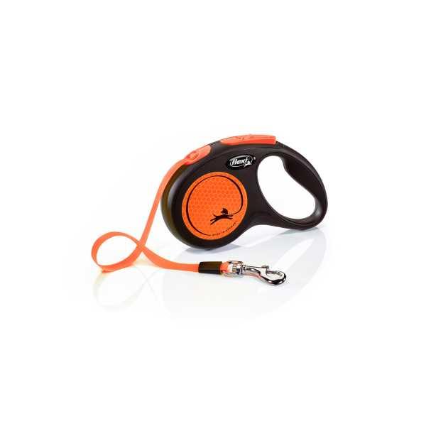 Flexi New Neon Turuncu Parlak Şeritli Otomatik Gezdirme Tasması 5m Medium