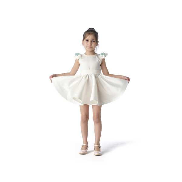 Tülü Akkoç Yeşil Çiçekli Abiye Beyaz Prenses Elbise TAK21A300A