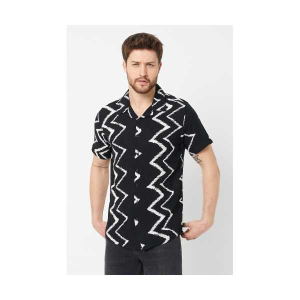 ERKEK Siyah Modelli Regular Fit Gömlek