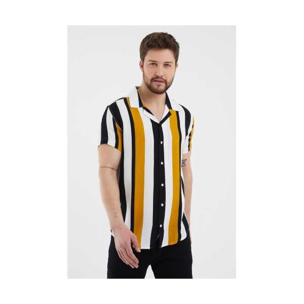 Beyaz-Hardal Erkek Yaka Kısa Kollu Slim Fit Gömlek