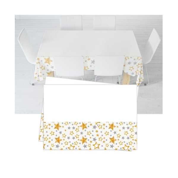 Yıldızlar Beyaz Plastik Masa Örtüsü 120x180 cm